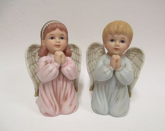 "Vintage Homco Praying Boy & Girl Angels, ""Precious Prayers"", Kneeling Children Figurines #1412, Porcelain Bisque 4.5"" tall"