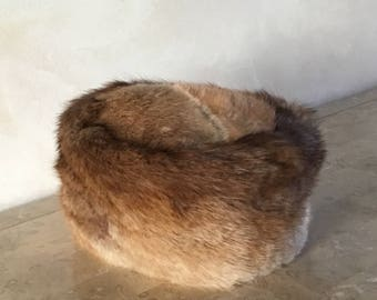 Vintage Pillbox Women's Rabbit Fur Hat