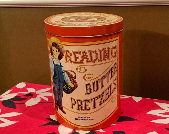 READING BUTTER PRETZELS Vintage Tin Cheinco
