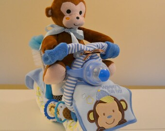 Monkey Motorcycle Diaper Cake, Diaper Motorcycle Baby Shower Centerpiece, Unique Baby Shower or Welcome Baby Home Gift, Made To Order