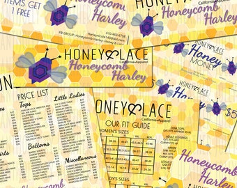 Personalized - HONEYCOMB HEX BEES - Retailer/Consultant Starter Package *****7 Digital Images to Get you Started*****