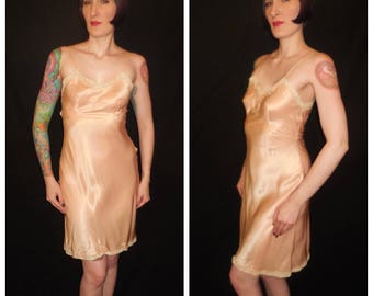 Vintage 1930's 1940's Pink Satin Rayon Bias Cut Slip Chemise Nightgown - size Small Medium
