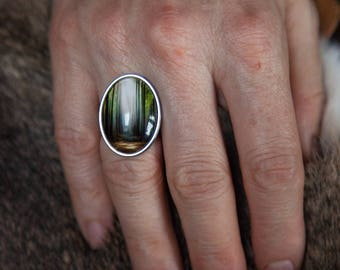 Art Jewelry, stainless steel ring with art reproduction and 18x25mm glass cabochon