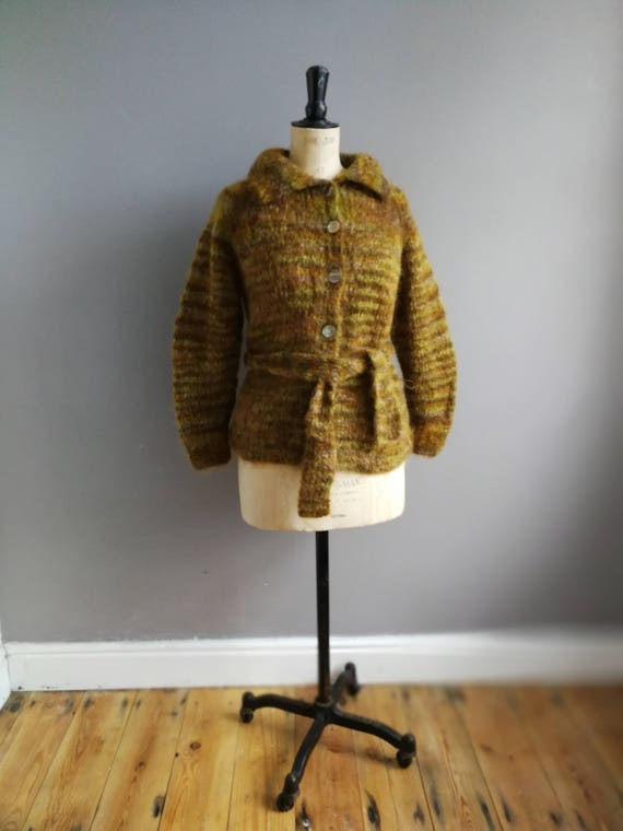 Hand knitted wrap cardigan / moss green fluffy wool cardigan / winter wool cardigan / woodland green knit cardigan / hand knit vintage cardi