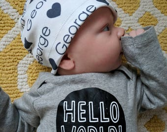 Personalized baby name beanie hat: baby and toddler personalized name hat organic cotton knit baby shower gift