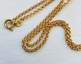 Vintage Solid 14K Yellow Gold Rolo Belcher Link Chain Necklace, Locket Chain, 16 Inches