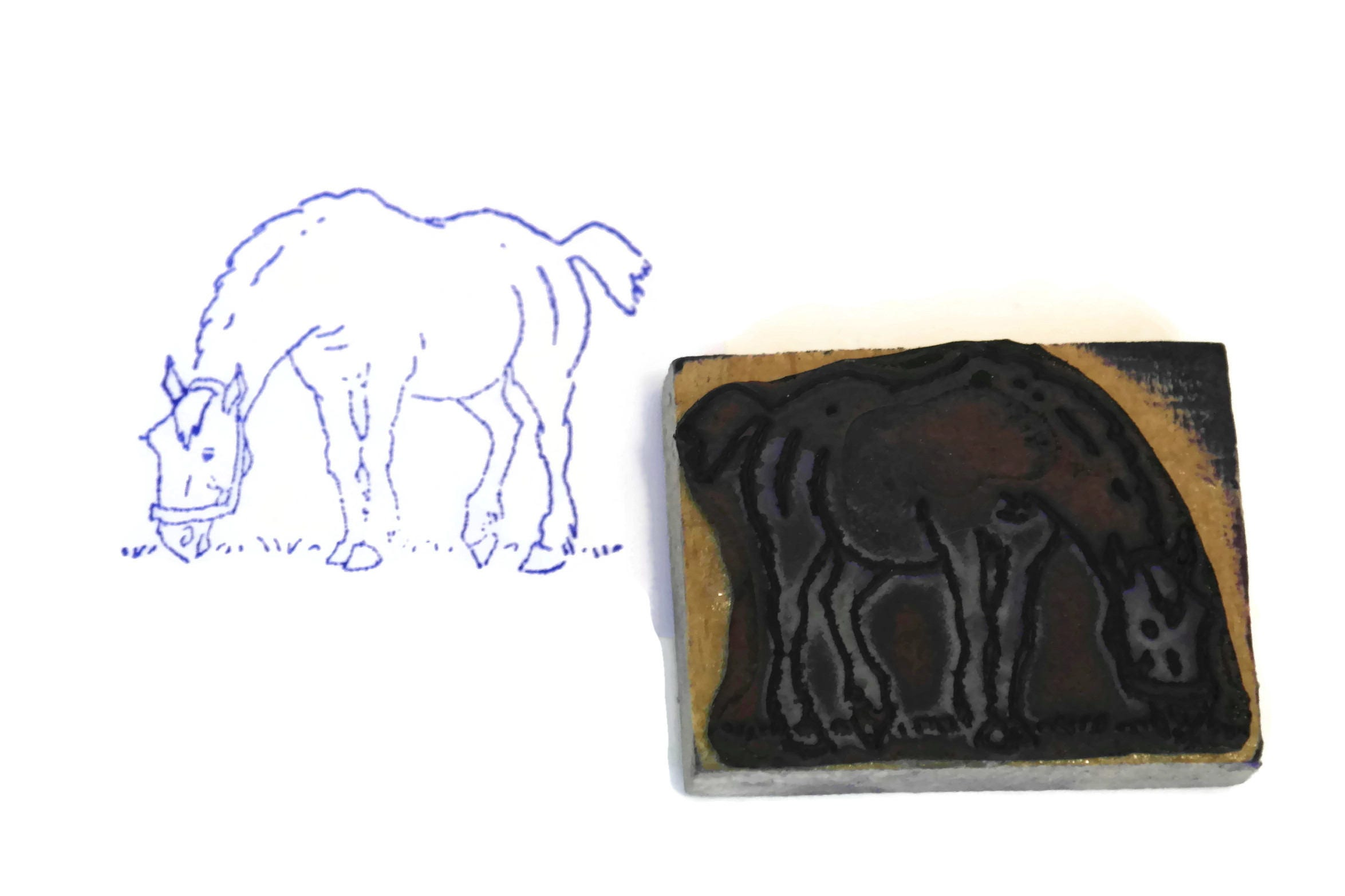 Horse Rubber Stamp Wood Print Block Kids Art Amp Craft