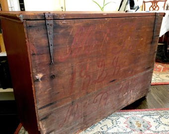 Primitive Chest Rustic Blanket Chest Signed 1800s