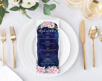 Floral Wedding Menu Cards - Boho Garden Reception Menu