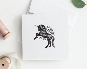 Unicorn Return Address Stamp - Personalized Rubber Stamp - Unique Gift Idea - Housewarming Gift