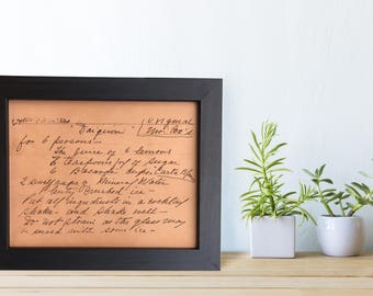 Handwritting Recipe Engraved on Leather, Grandma's recipe keepsake, handwritten recipe, leather rustic kitchen decor, gift for mom grandma