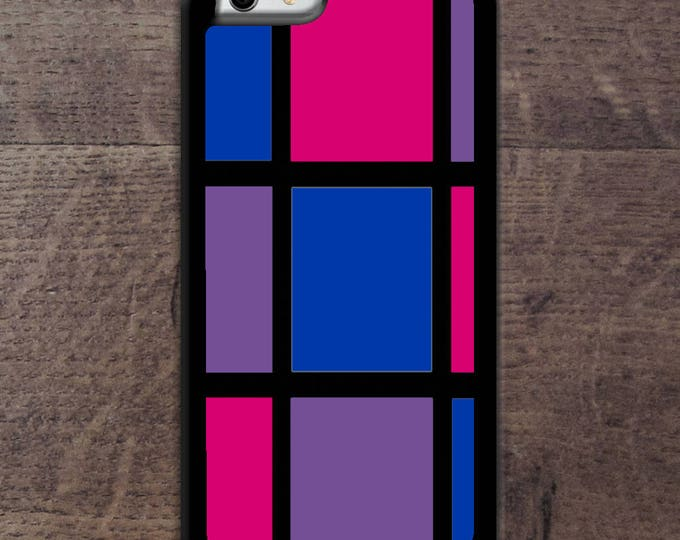 Bisexual flag colors Mondrain inspired phone case