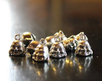 10 alloy Buddha head charms/pendants, antique silver color, 13 mm x 11 mm x 9 mm, hole 2 mm, lead and cadmium free