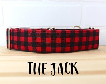 Red and Black Lumberjack Buffalo Plaid Boy Dog Collar. Can be made in Buckle or Martingale Collar. PLEASE READ Item Details before ordering