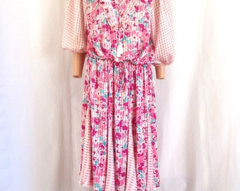 1980's Diane Fres 2 pc. Floral/ Polka Dot Skirt Set Sz. M/L