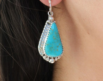 NAVAJO Handmade Sterling Silver Kingman Turquoise Earrings