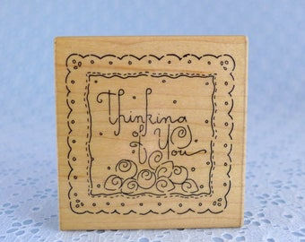 Thinking of You Rubber Stamp, Scalloped Edge Frame, Friendship, Birthday, JRL Design, Wood Mounted, Card Making, Paper Crafts, Scrapbooking