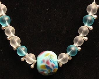 Flameworked beaded necklace