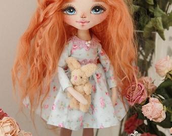 Lovely babe handmade doll, art doll, OOAK doll, cloth doll, fabric doll, rag doll, textile doll, interior doll, home decor