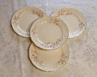 Set of 4 Large Plates, Rose Point with Embellished Floral Trim - Fine China with Gold Trim - Discontinued Pope Gosser - Wedding Serving