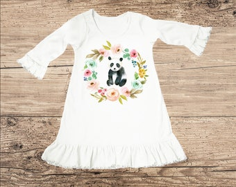 Panda Bear Dress with Flowers, Ruffle Toddler or Baby Clothes