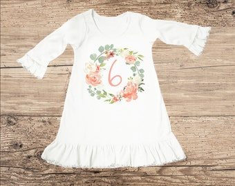 Birthday Dress for Six Year Old, Sixth Birthday Outfit, Flower Ruffle Dress