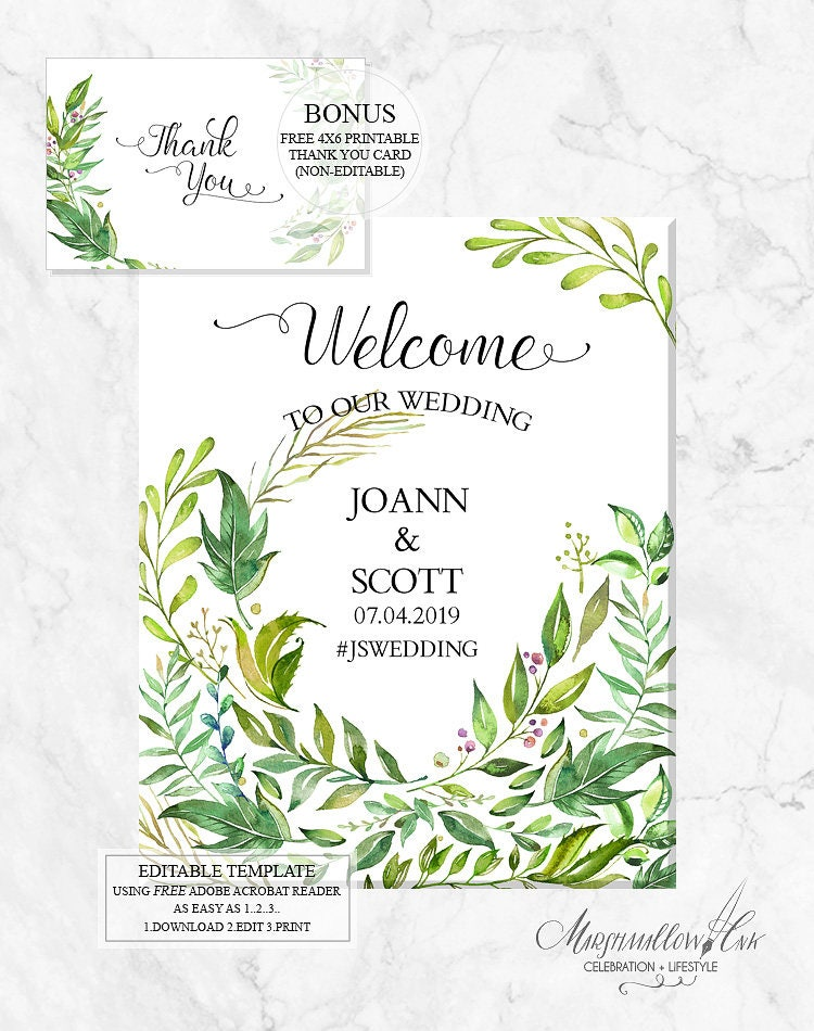 Welcome Sign Welcome Wedding Signs, Printable Wedding Signs DIY Wedding Template, PDF Wedding Printable Reception Sign FREE Thank You diy