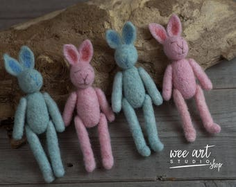 Felted Tiny Rabbit - blue and pink