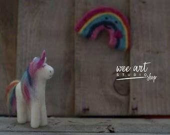Tiny Needle Felt Rainbow Unicorn /  Newborn Photography Prop Needle Felted