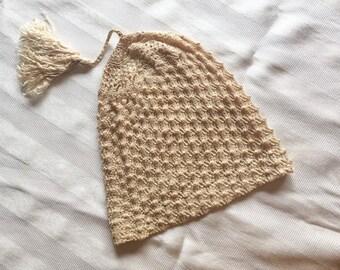 Antique Silk Knit Baby Cap, Edwardian Silk Baby Night Cap