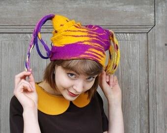 Hand felted designer hat, fancy harlequin felt hat, unusual festival headdress, unique wearable art, bohemian fashion, funky style hat, OOAK
