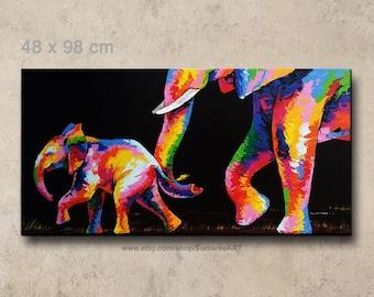 48 x 98 cm, Colorful elephant painting on canvas, elephant wall decor