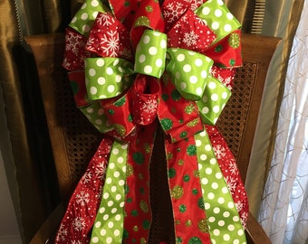 Tree Topper Bow, Large Christmas Bow for Christmas Tree or Lamp Post, Red and Lime Green Bow