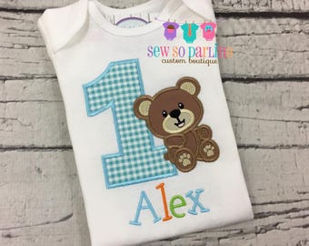1st Birthday Bear Shirt - Teddy Bear Birthday Shirt - Baby Boy Bear Birthday Outfit - Birthday shirt - blue orange green Birthday - ANY AGE