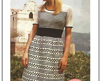 1970s Fair Isle Dress Knitting Pattern - PDF Instant Download