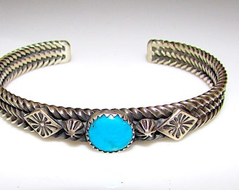 Navajo J King Sterling Silver Turquoise Cuff Bracelet