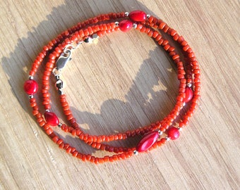 Red Coral with sterling silver wrap Bracelet, long Necklace