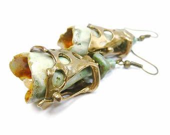 Boucles d'oreilles créateur en bronze doré et clochettes en céramique