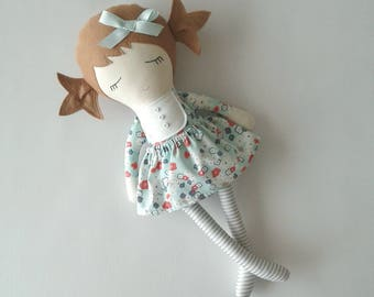 Fabric Doll with Light Brown Hair