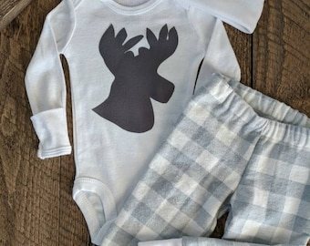 Newborn boy coming home outfit, Gray plaid newborn, winter clothes,Baby boy going home set, Coming home hospital outfit, Lumberjack baby