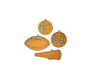 Sports Themed Rusty Metal Ornament Assortment