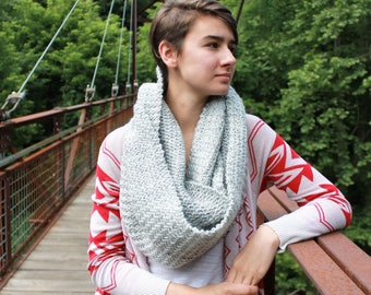 Large Hand Knit Grey Infinity Scarf, Herringbone Scarf, Knit Eternity Scarf, Scarf for Women and Teens
