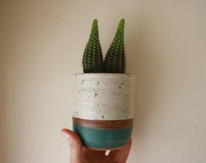 Small Planter - White & Turquoise - KJ Pottery