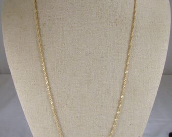 """Gorgeous 14K Twisted Woven Double Link Chain Necklace ~ 24"""" Long"""