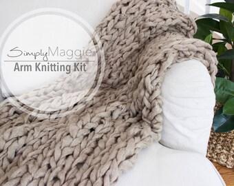 """Knitting Kit // ArmKnitting Kit // Throw Blanket // Chunky Throw // Knit Blanket // DIY Kit // 36"""" by 55"""" // Simply Maggie"""