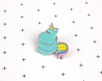 Unicorn hippo enamel pin badge -Animal brooch -Hippopotamus lapel pin -Kawaii pin -Hippo pin  -Soft enamel pin