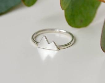 Mountain ring, sterling silver peak ring