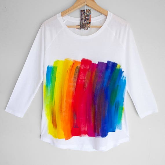 RAINBOW shirt. White womens top with hand painted rainbow pattern. Womens 3/4 sleeve organic cotton and tencel top.