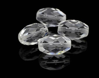 Faceted Oval Shaped Rock Crystal Stones Center Drilled 10x15mm 2pcs