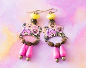 Pink and Yellow Flower Earrings with Vintage Pink Wooden Drop Beads and Vintage Tin, Boho Chic Jewelry.